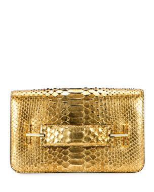 2740bf6b0d TOM FORD Tara Metallic Python Pochette Bag