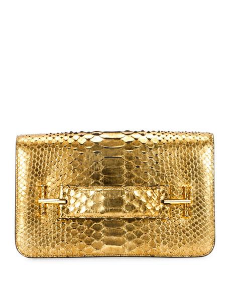 Tara Metallic Python Pochette Bag