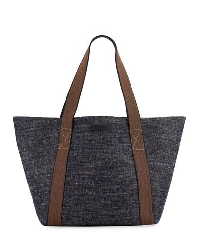 Denim Tote Bag with Monili Handles