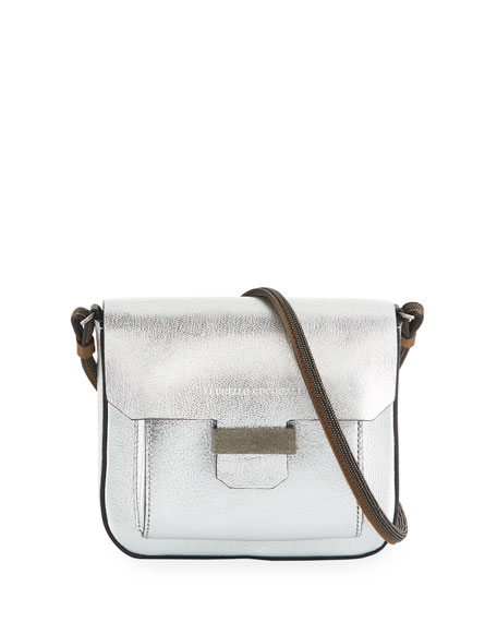 Metallic Leather Mini Crossbody Bag