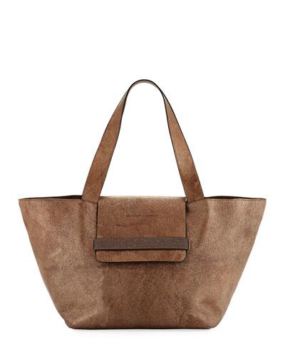 Glitter Leather Tote Bag with Monili Band