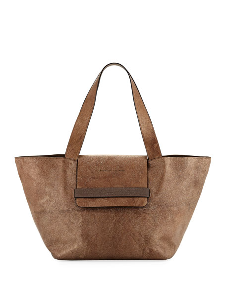 Glitter Leather Tote Bag with Monili Band