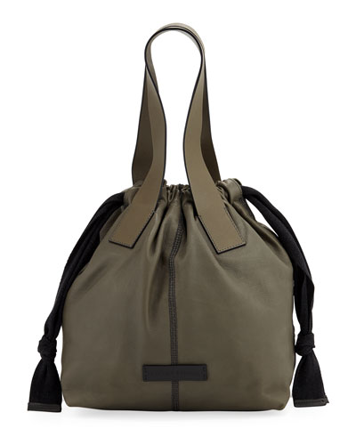 Shiny Stitched Drawstring Shoulder Bag
