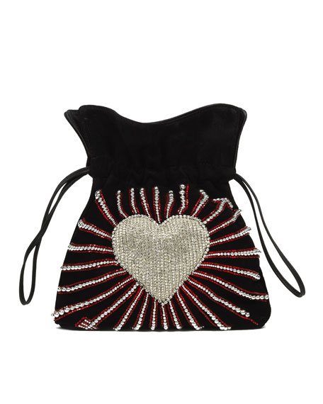 Trilly Heart Cupid Satin Pouch Bag