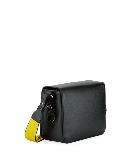 Saffiano Flap Shoulder Bag with Binder Clip Detail