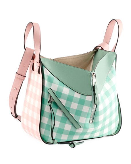 Hammock Gingham Leather Shoulder Bag