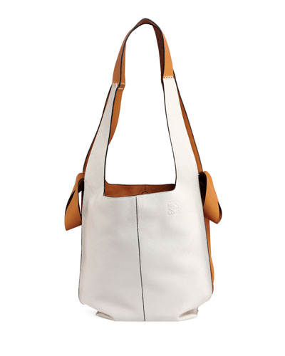 Colorblock Leather Hobo Tote Bag