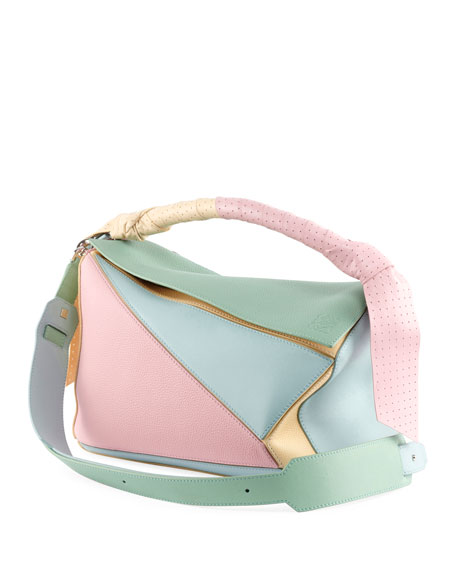 Puzzle Medium Colorblock Leather Bag