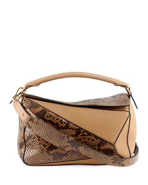 d5f7e57b414c Loewe Puzzle Colorblock Python and Leather Bag