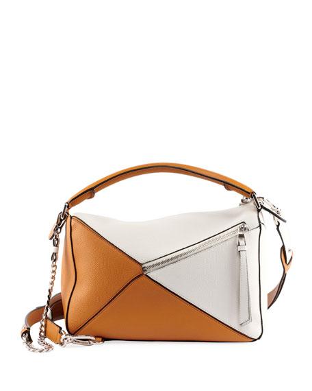 Puzzle Colorblock Leather Bag