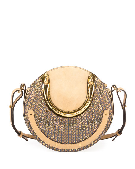 Chloe Pixie Small Sequined Round Shoulder Bag