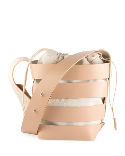 Cage Small Mixed Hobo Bag, Nude