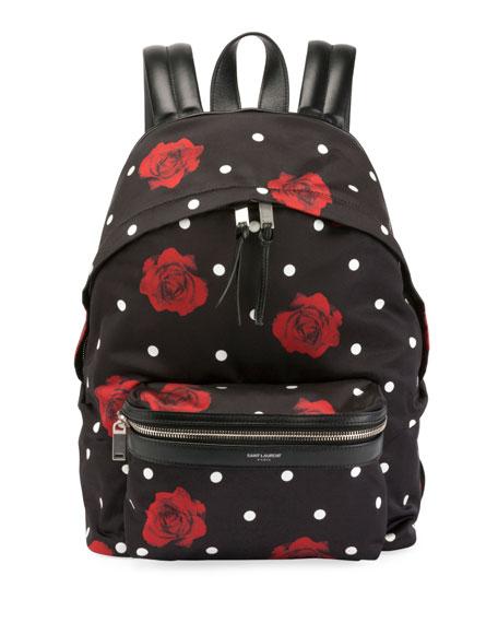 Saint Laurent Rose-Print Satin City Backpack