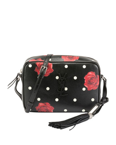 Lou Medium Rose-Print Camera Crossbody Bag