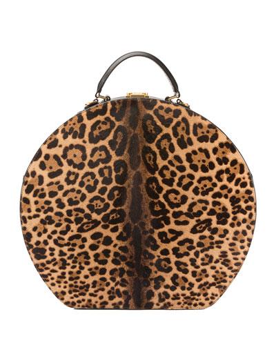 Mica Large Leopard-Print Hat Box Bag