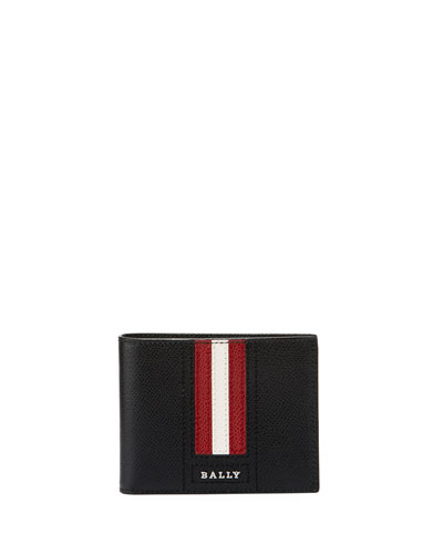 Tevye Striped Leather Bi-Fold Wallet, Black