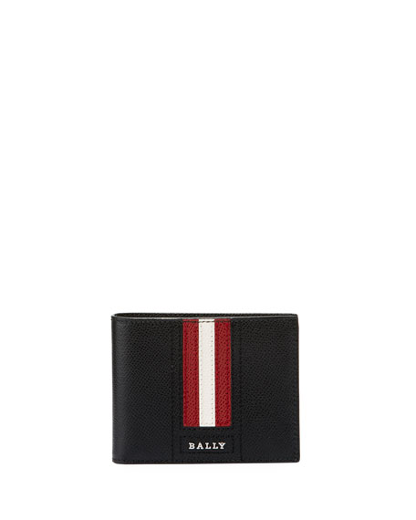 Bally Tevye Striped Leather Bi-Fold Wallet, Black