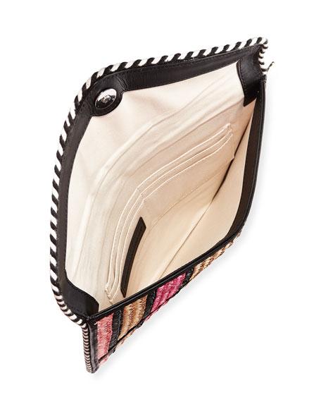 Leo Straw Envelope Clutch Bag