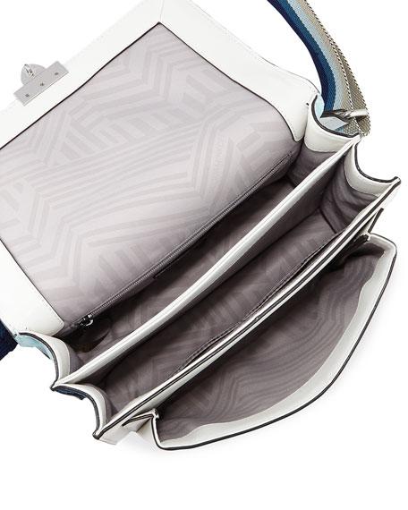 Christy Medium Leather Shoulder Bag with Web Strap