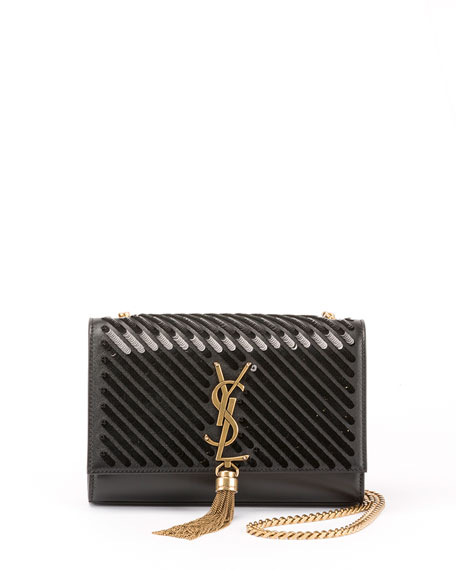 Kate Small Tassel Crossbody Bag with Diagonal Sequins