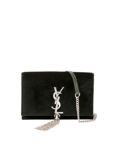 Kate Velvet Crystal-Monogram Tassel Wallet On A Chain
