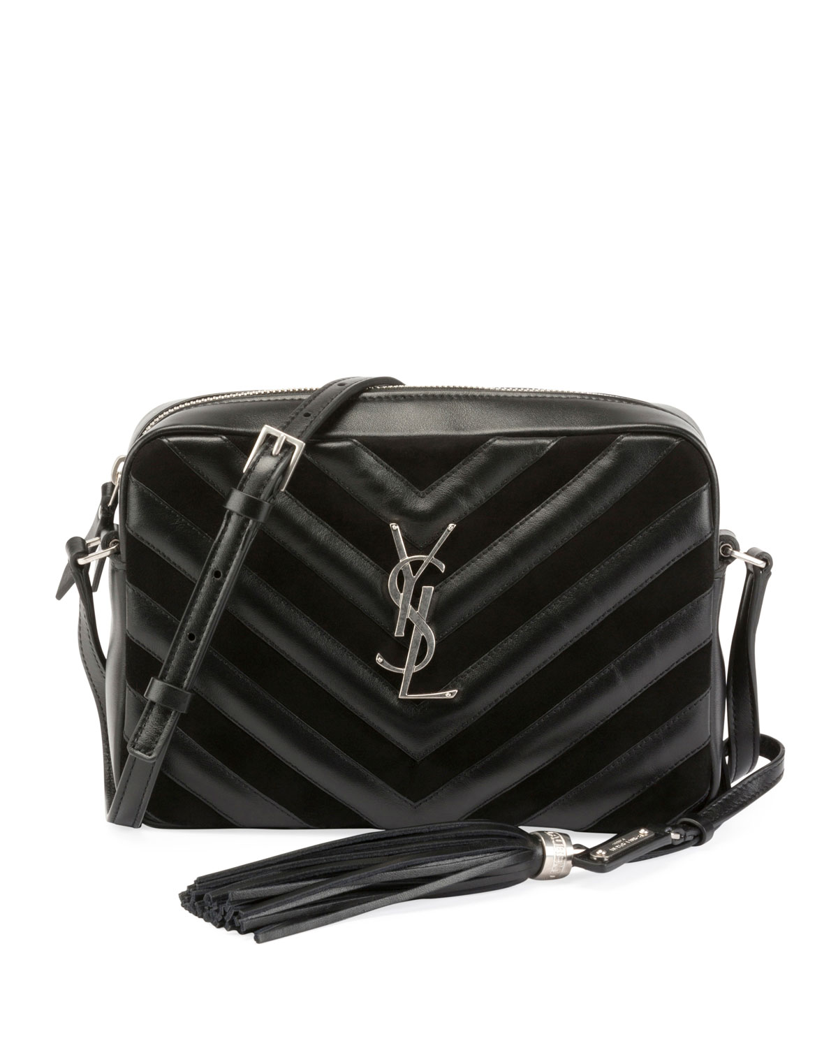 f7540b8211a2 Lou Monogram Medium Chevron-Quilted Leather Suede Camera Shoulder Bag