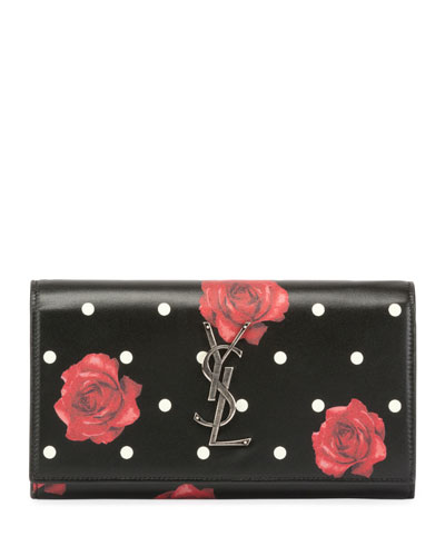 Large Rose-Print Continental Wallet