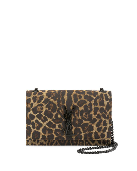 Saint Laurent Kate Monogram Small Leopard Jacquard Crossbody
