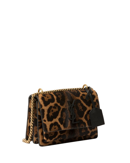 Saint Laurent Sunset Small Calf Hair Crossbody Bag