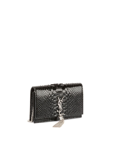 Kate Monogram Small Matte Metallic Python Tassel Wallet on Chain