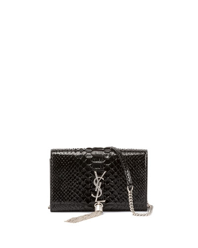 Kate Monogram Small Matte Metallic Python Tassel Wallet on Chain