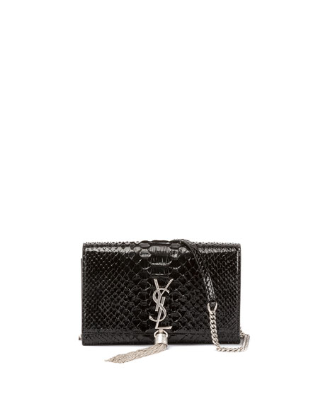 Saint Laurent Kate Monogram Small Matte Metallic Python