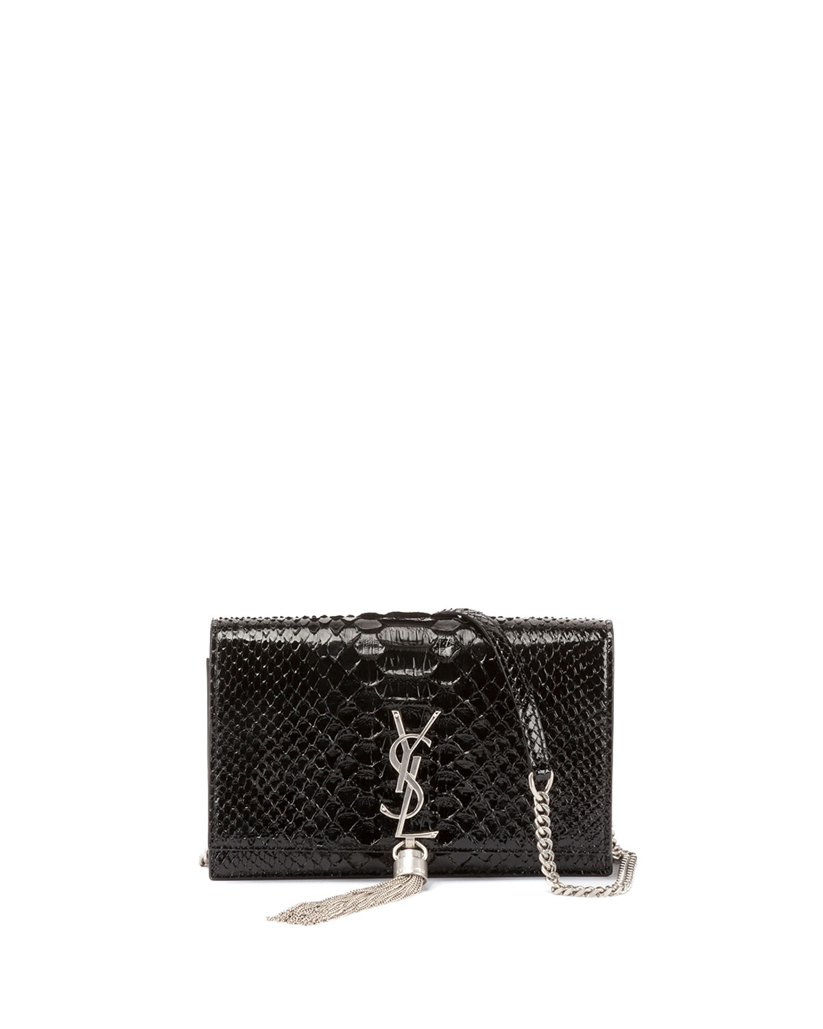 Saint Laurent Kate Monogram YSL Small Matte Metallic Python Tassel ... 5d2552d525866