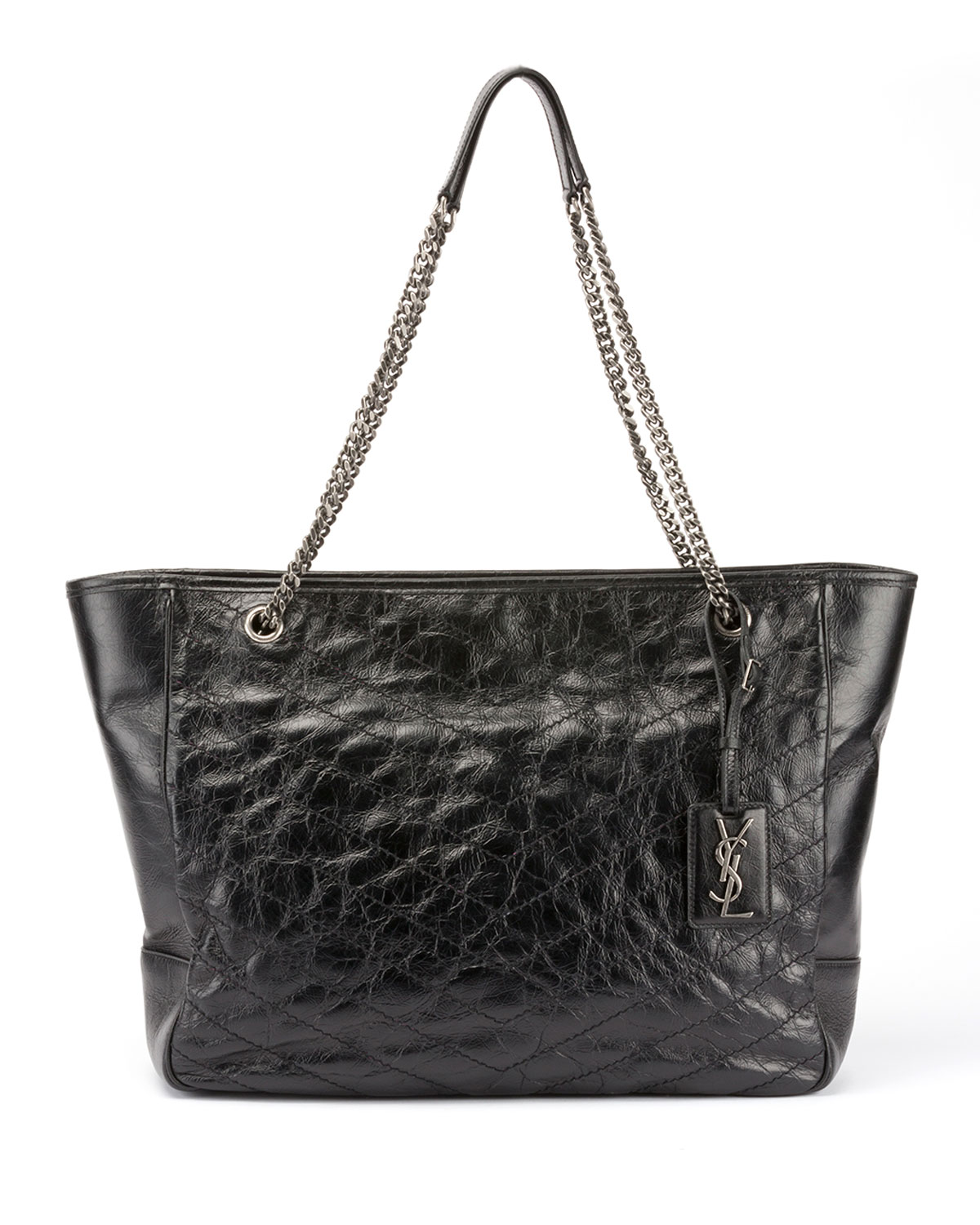 Niki Large Quilted Double Chain Tote Bag