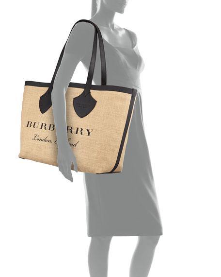 Medium Giant Printed Jute Shoulder Tote Bag