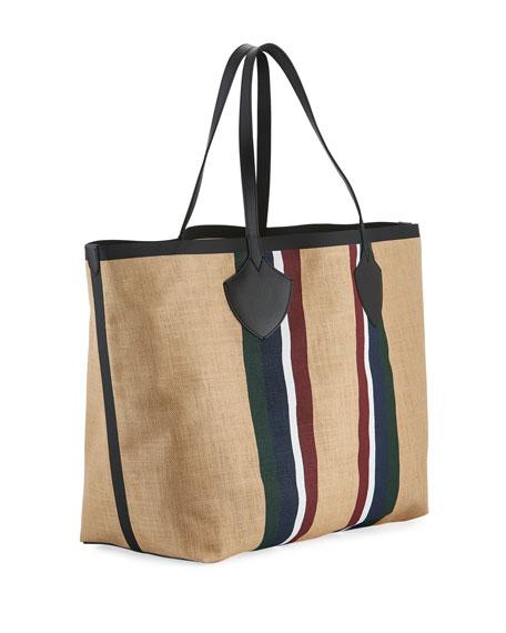 Giant Jute Striped Tote Bag