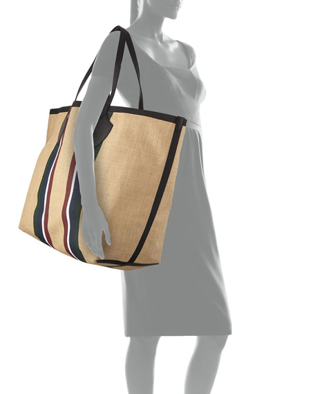 Giant Jute Striped Tote Bag