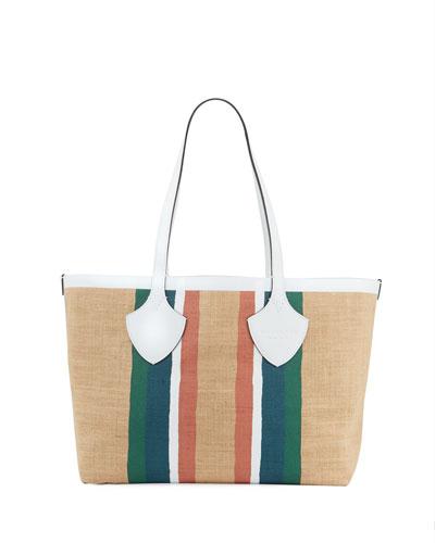 Jute Medium Striped Tote Bag