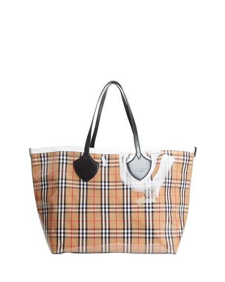 Burberry Giant Transparent Vintage Check Tote Bag