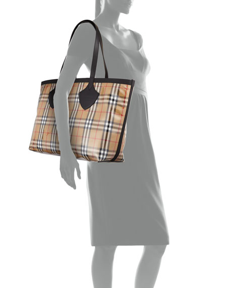 Giant Transparent Vintage Check Tote Bag