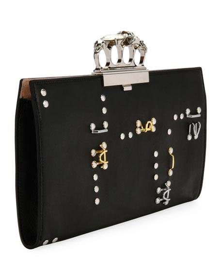 Knuckle Hook Leather Flat Clutch Bag