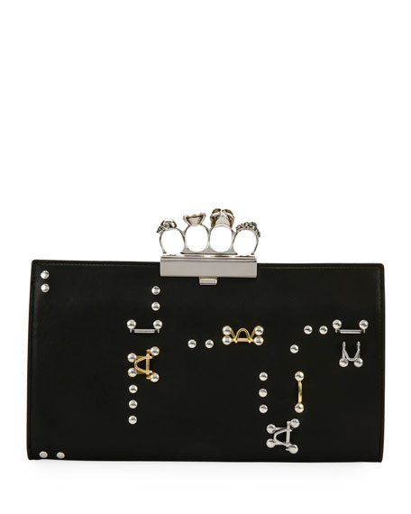 Alexander McQueen Knuckle Hook Leather Flat Clutch Bag