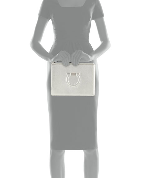 Gancio City Metallic Leather Wristlet Pouch Bag