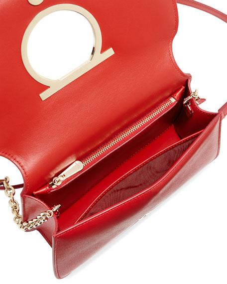 Gancio Vela Smooth Leather Crossbody Bag