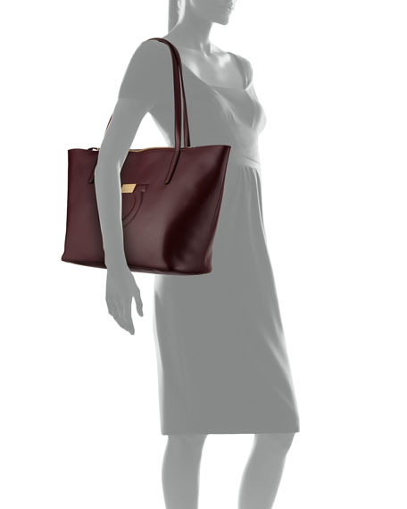 Gancio City Leather Shoulder Tote Bag