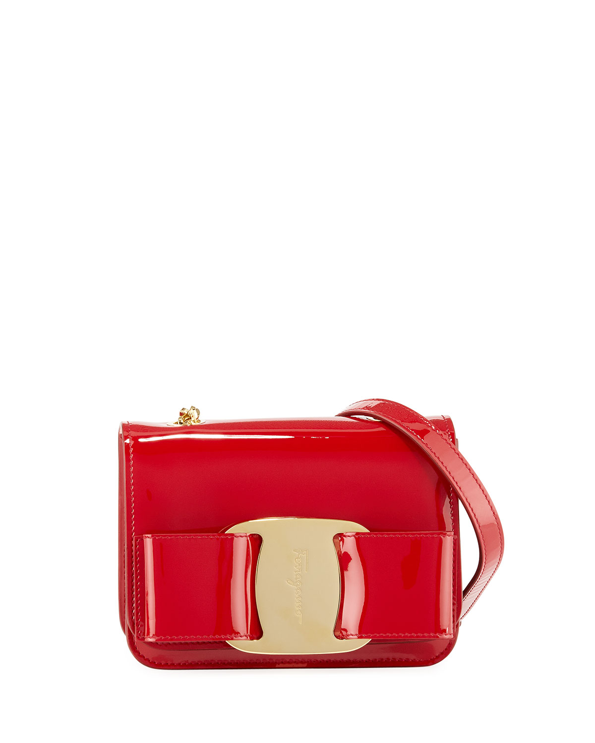 afb0038afdf3 Salvatore Ferragamo Vara Rainbow Patent Shoulder Bag
