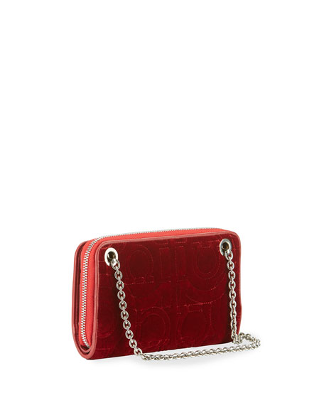 Gancio Quilting Velvet Wallet on a Chain