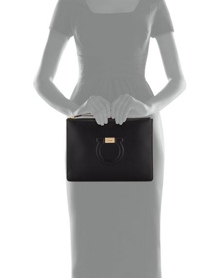 Gancio City Leather Wristlet Pouch Bag