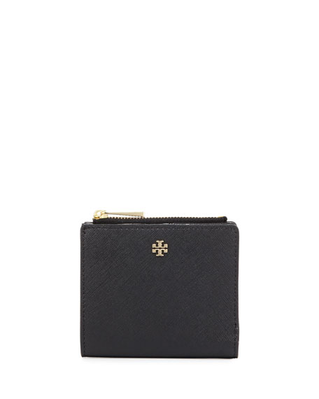 Tory Burch Robinson Leather Mini Wallet, Black