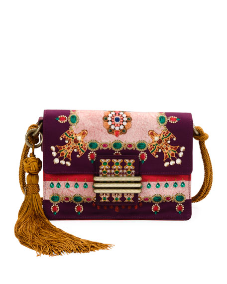 Etro Small Rainbow Soft Satin Jeweled Crossbody Bag